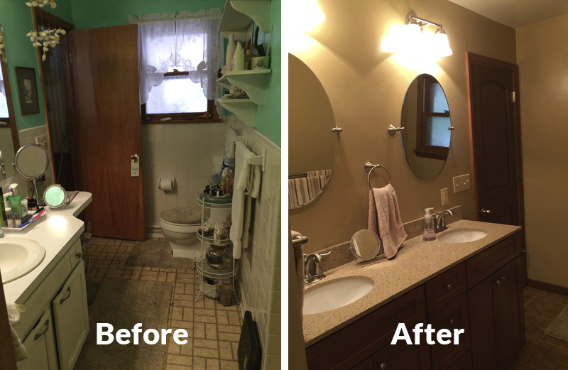 The new round surface-mounted mirrors, the brushed nickel trim, the larger  tiles, and the earthy colors—all of these décor changes culminated in the  after ...