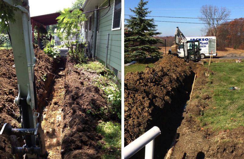 Excavating for a water service (left) and sewer service (right)