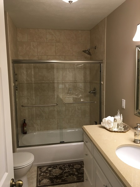 Blue bathroom remodel jackson plumbing - Small bathroom remodel with tub ...